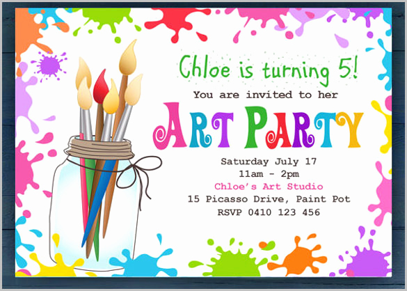 Free Art Party Invitation Templates Lovely Kids Invitation Templates – 27 Free Psd Vector Eps Ai
