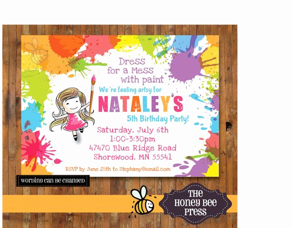 Free Art Party Invitation Templates New Art Party Invitation Splatter Paint Birthday Party