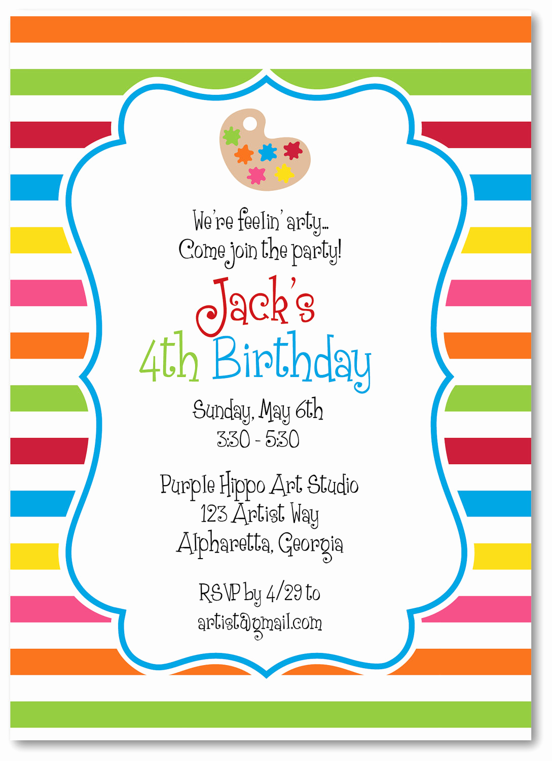Free Art Party Invitation Templates New Art Party Invitation Templates