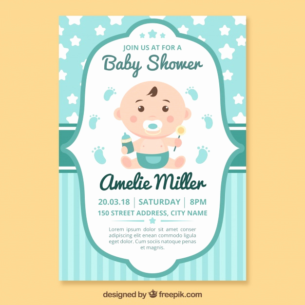 Free Baby Shower Invitation Templates Luxury Baby Vectors S and Psd Files