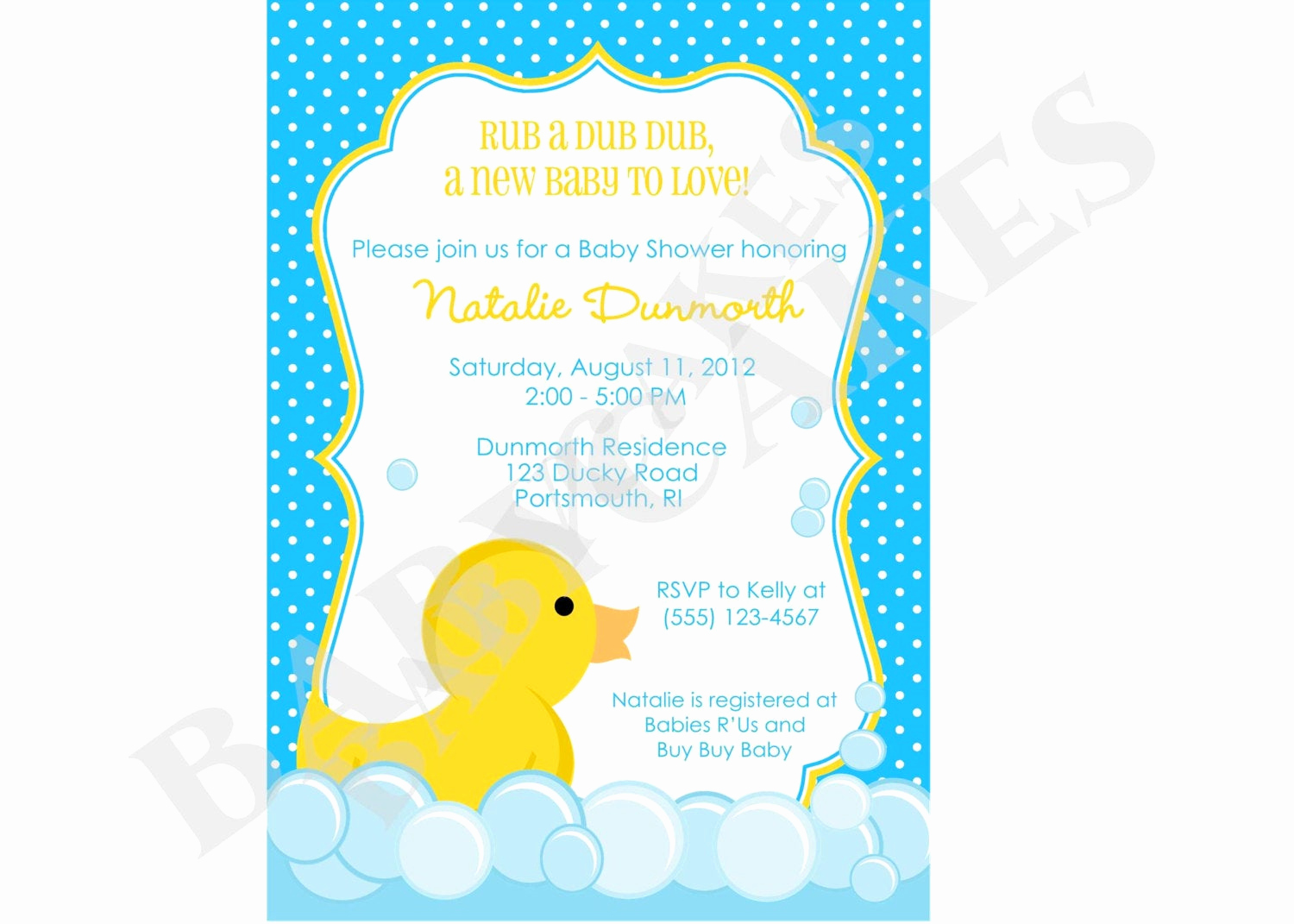Free Baby Sprinkle Invitation Templates Beautiful Rubber Ducky Baby Shower Invitation Invite Sprinkle Boy Blue