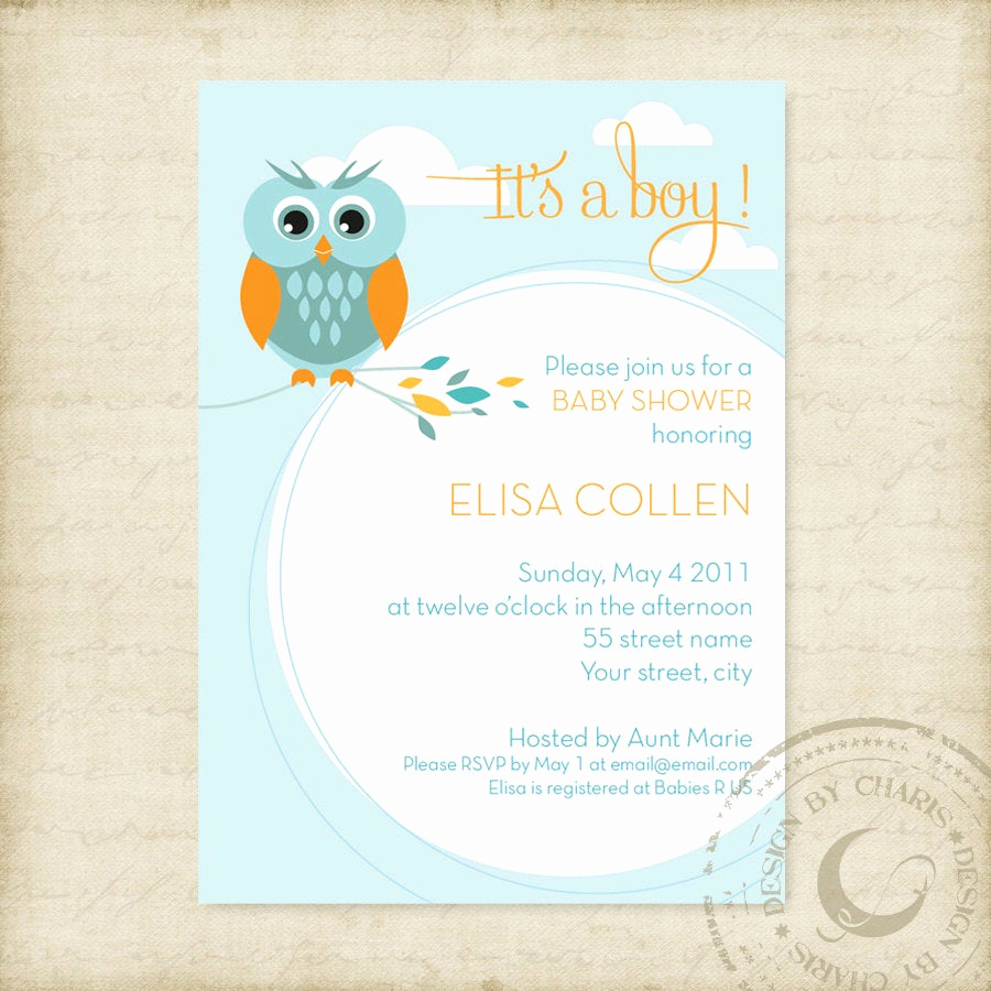 Free Baby Sprinkle Invitation Templates Unique Baby Shower Invitation Template Owl theme Boy or Girl