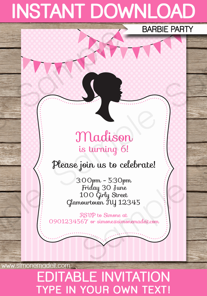 Free Barbie Invitation Templates Awesome Barbie Party Invitations Template