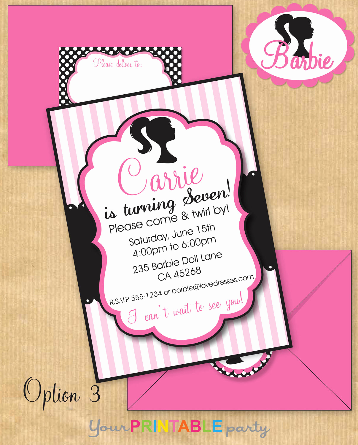 Free Barbie Invitation Templates Awesome Vintage Barbie Inspired Deluxe Birthday Party Invitation with
