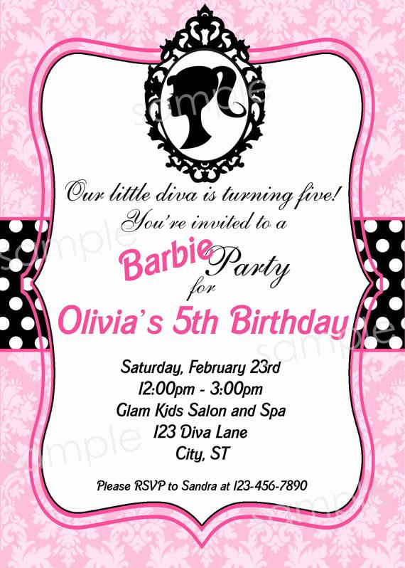 Free Barbie Invitation Templates Beautiful Barbie Invitation Template