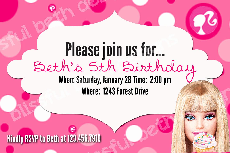 Free Barbie Invitation Templates Elegant Free Barbie Invitation Templates