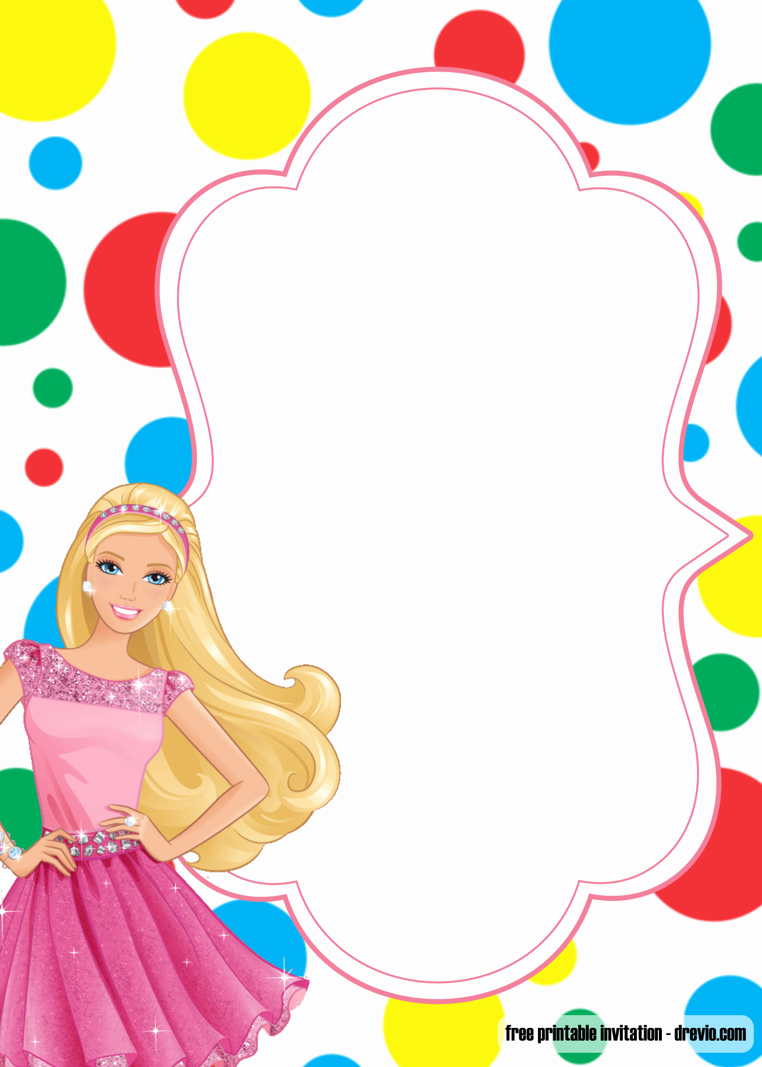 Free Barbie Invitation Templates Elegant Free Printable Princess Birthday Invitation Templates