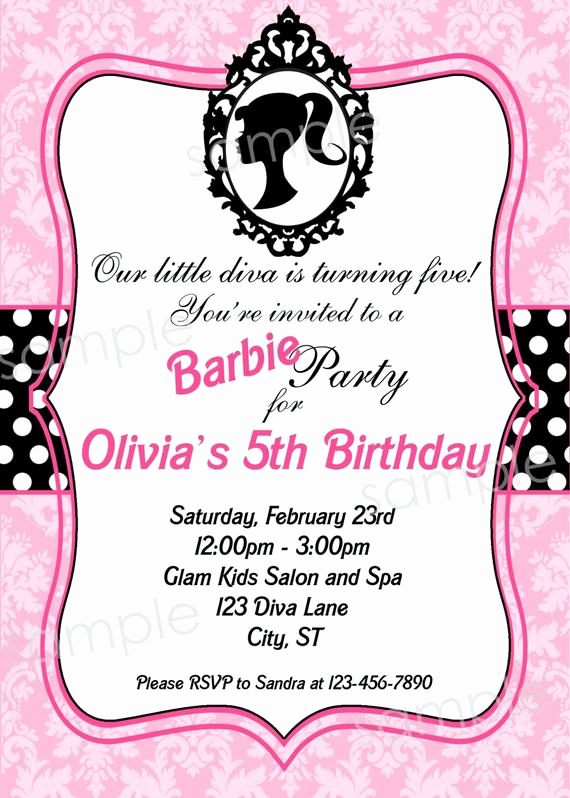 Free Barbie Invitation Templates Fresh Barbie Inspired Birthday Party Invitation Diy by Modpoddesigns