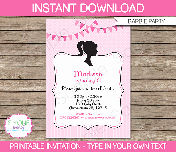 Free Barbie Invitation Templates Fresh Barbie Party theme Printables & Invitations