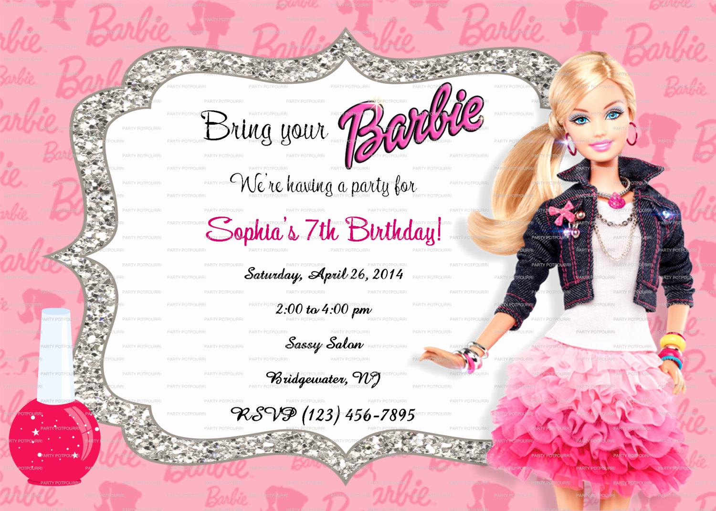 Free Barbie Invitation Templates Luxury Custom Barbie Fashionista Birthday Invitation 5x7 Digital File
