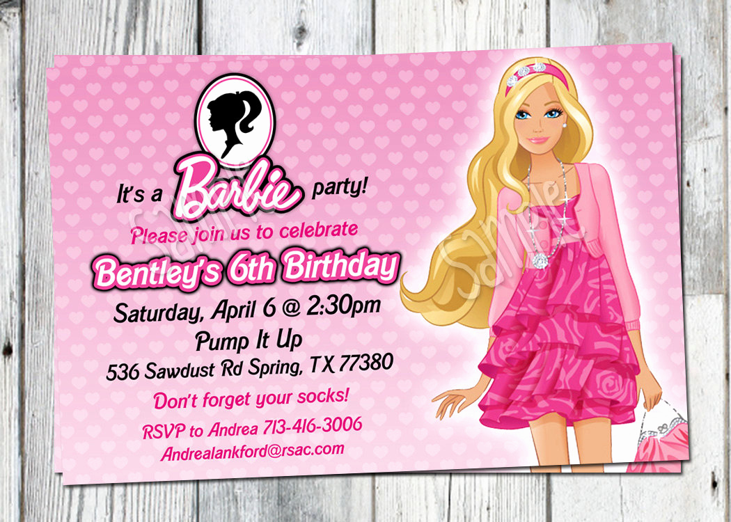 Free Barbie Invitation Templates New Barbie Birthday Invitation Printable Doll by Partyprintouts