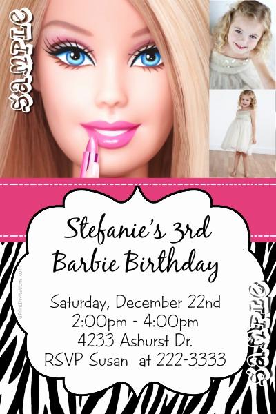 Free Barbie Invitation Templates Unique Barbie Animal Print Birthday Invitations All Colors