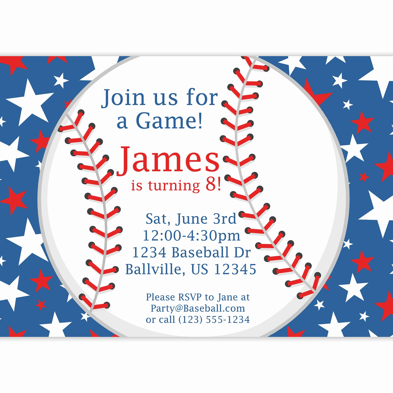 Free Baseball Invitation Template Best Of Baseball Party Invitation Red White and Blue Star Baseball