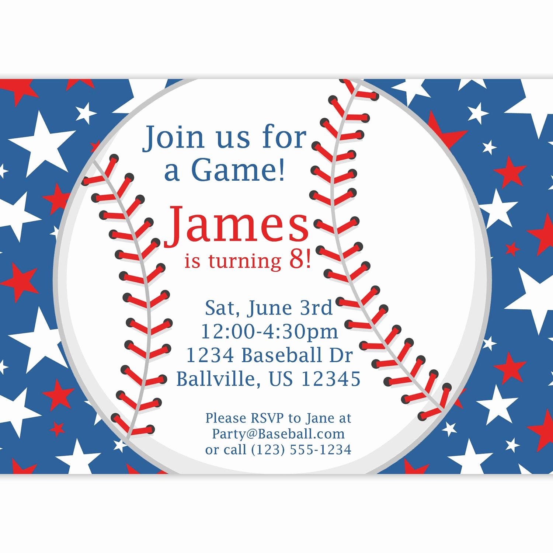 Free Baseball Invitation Template Best Of Baseball Party Invitation Red White and Blue Star Baseball