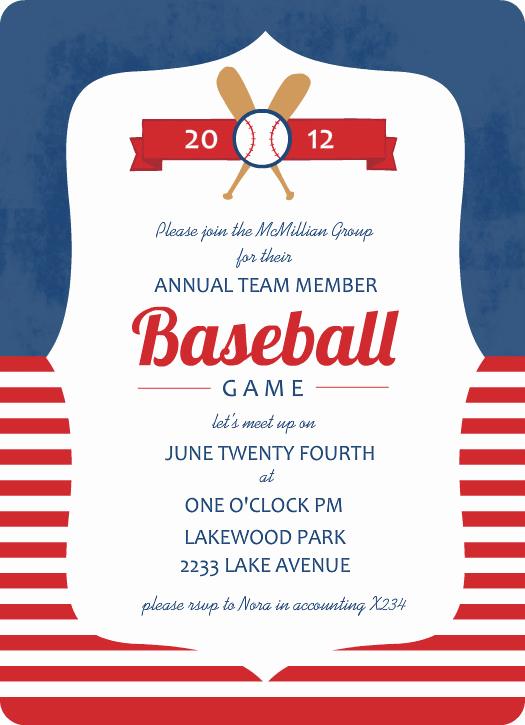 Free Baseball Invitation Template Best Of Blue and Red Striped Baseball Game Invitation Template