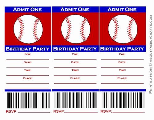 Free Baseball Invitation Template Unique Baseball Ticket Birthday Party Invitation – About Family