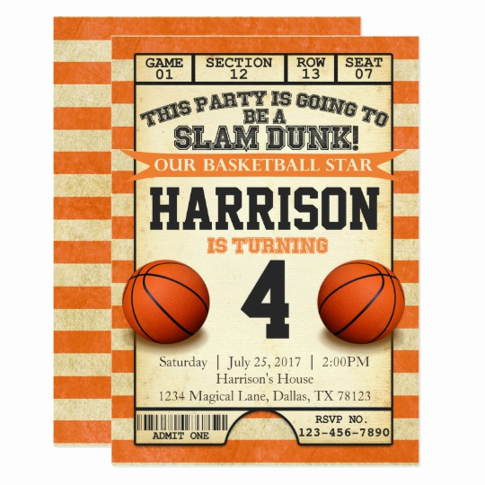 Free Basketball Invitation Templates Awesome Basketball Ticket Birthday Party Invitation Invite