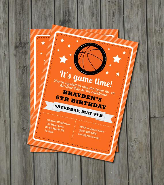 Free Basketball Invitation Templates Awesome Items Similar to Basketball Birthday Party Invitation