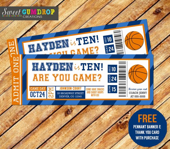 Free Basketball Invitation Templates Beautiful Basketbal Ticket Printable Gratis Wimpel Banner En