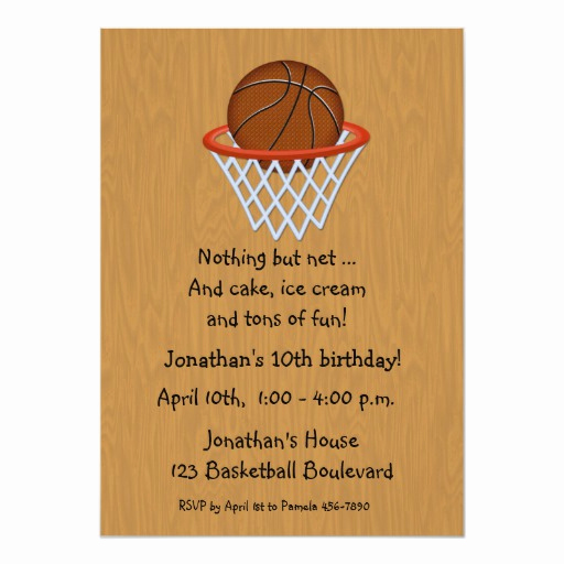 Free Basketball Invitation Templates Elegant Basketball themed Birthday Invitation