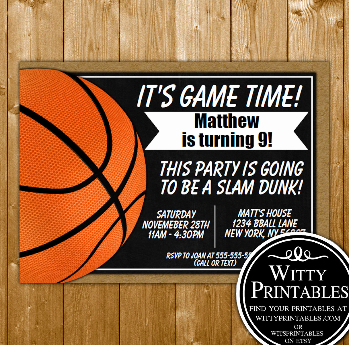 Free Basketball Invitation Templates Lovely Basketball Party Invitation Printable Digital Download