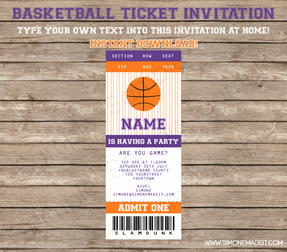 Free Basketball Invitation Templates Lovely Printable Basketball Party Invitation Template Purple