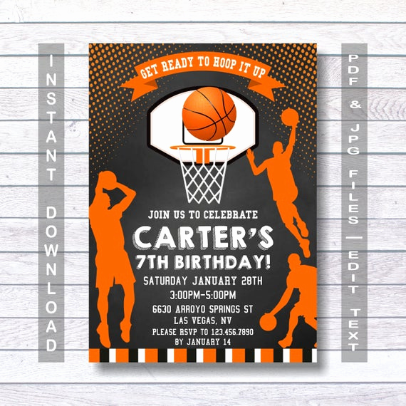Free Basketball Invitation Templates Luxury Basketball Invitations Basketball Birthday Invitation