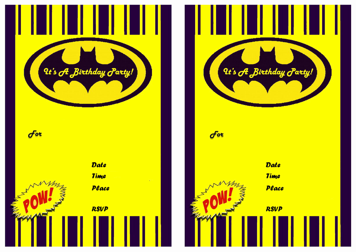 Free Batman Invitation Template Lovely 9 Awesome Batman Birthday Invitations