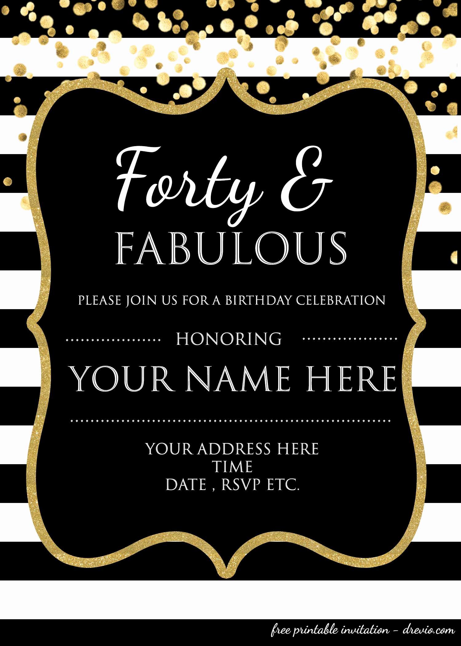 Free Birthday Invitation Templates Elegant forty & Fabulous 40th Birthday Invitation Template Psd