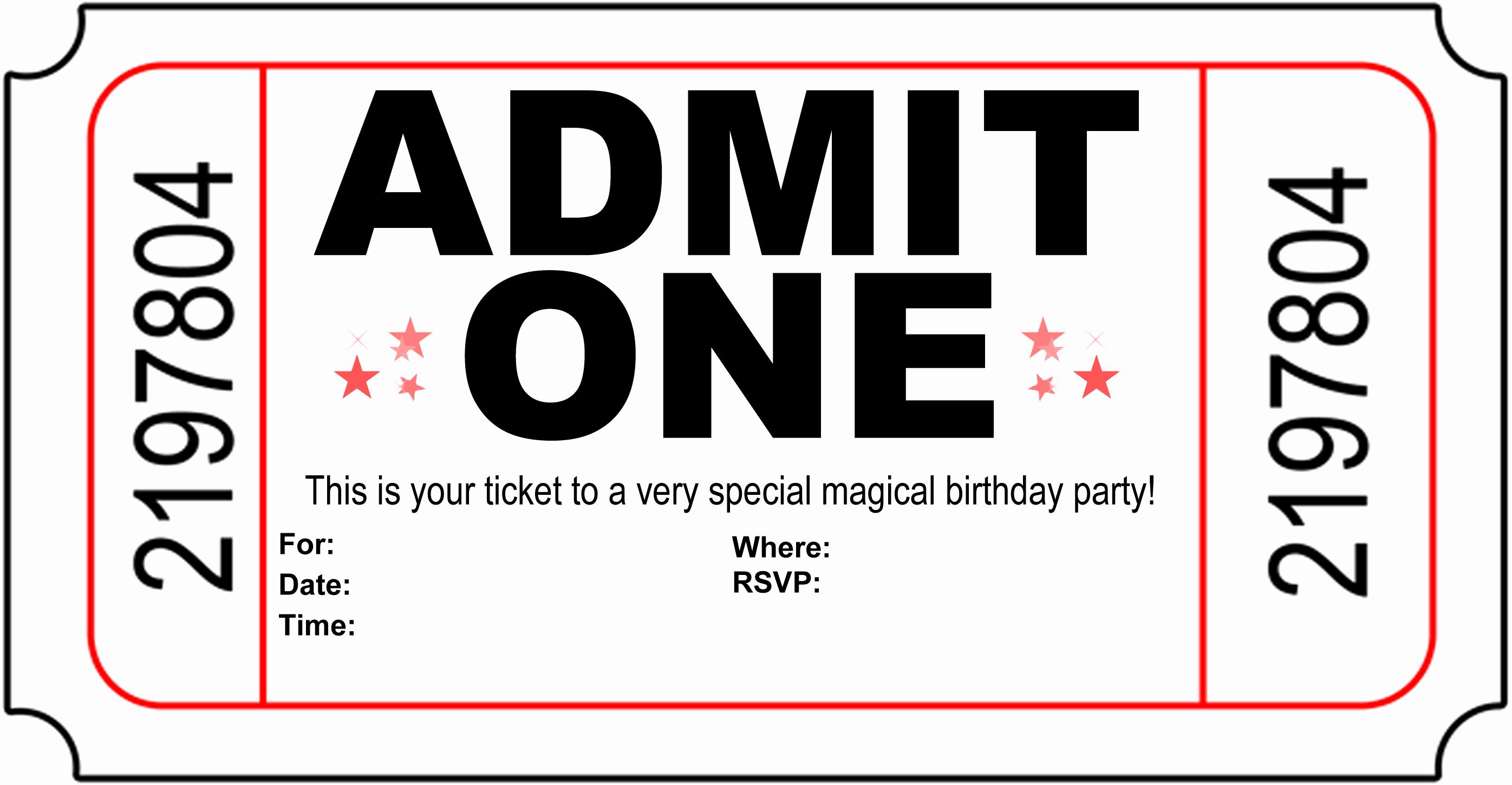 Free Birthday Party Invitation Template Beautiful Free Carnival Ticket Invitation Template Download Free