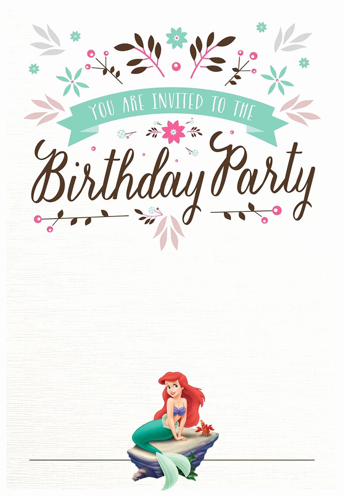 Free Birthday Party Invitation Template Inspirational Little Mermaid Free Printable Invitation Templates