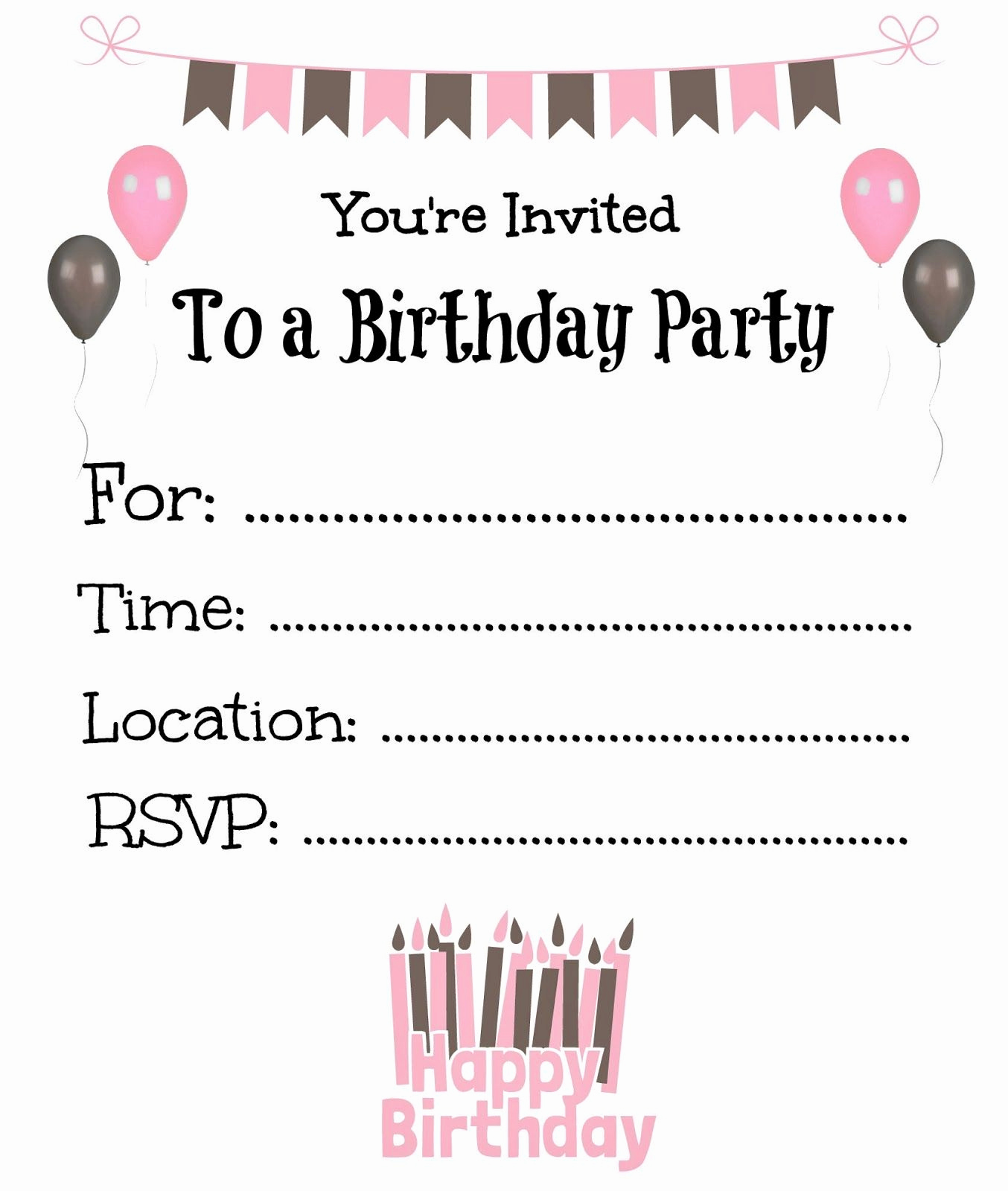 Free Birthday Party Invitation Template Luxury Free Printable Birthday Invitations for Kids Birthday
