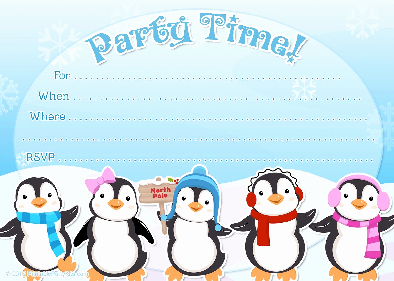Free Birthday Party Invitation Templates Lovely Free Printable Penguin Winter or Holiday Invitation