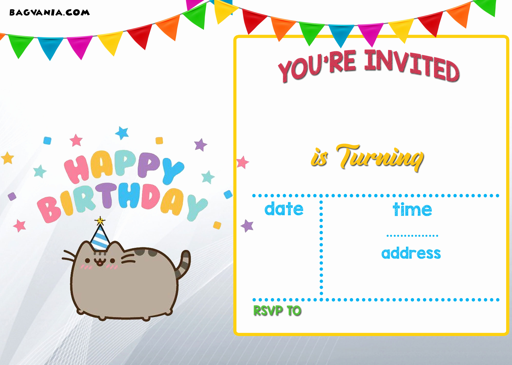 Free Birthday Party Invitation Templates New Free Printable Pusheen Birthday Invitation Template