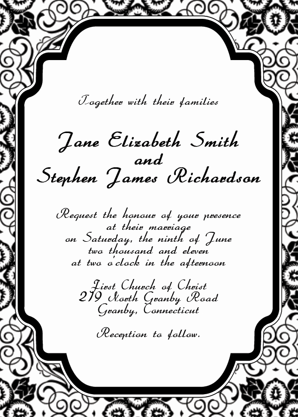 Free Blank Invitation Templates Elegant Free Printable Wedding Invitation Templates