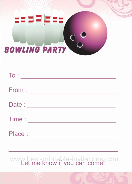 Free Bowling Invitation Template Luxury Bowling Birthday Party Invitations