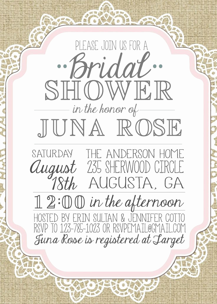 Free Bridal Shower Invitation Printables Beautiful Burlap and Lace Vintage Bridal Showerbaby Shower Inviation