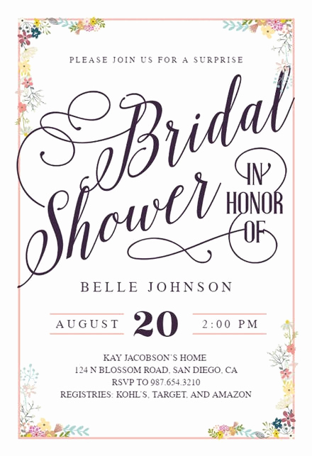 Free Bridal Shower Invitation Printables Inspirational Bridal Shower Invitation Templates Free