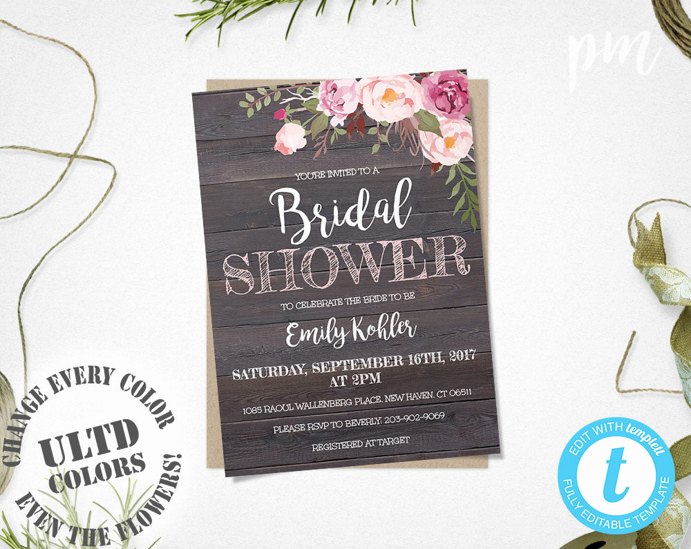 Free Bridal Shower Invitation Printables Luxury Rustic Floral Bridal Shower Invitation Template Printable