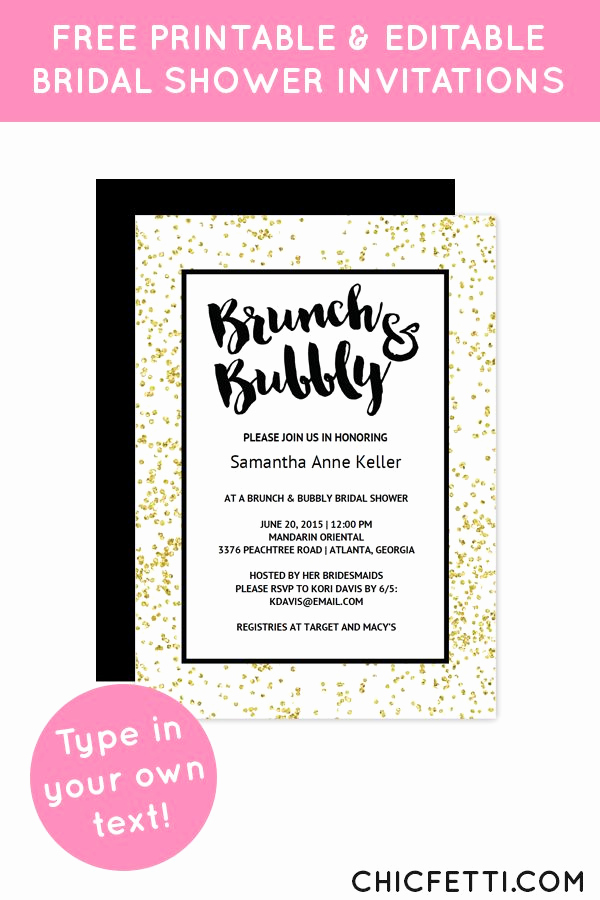 Free Bridal Shower Invitation Printables Unique Gold Confetti Brunch Bubbly Bridal Shower Invitation