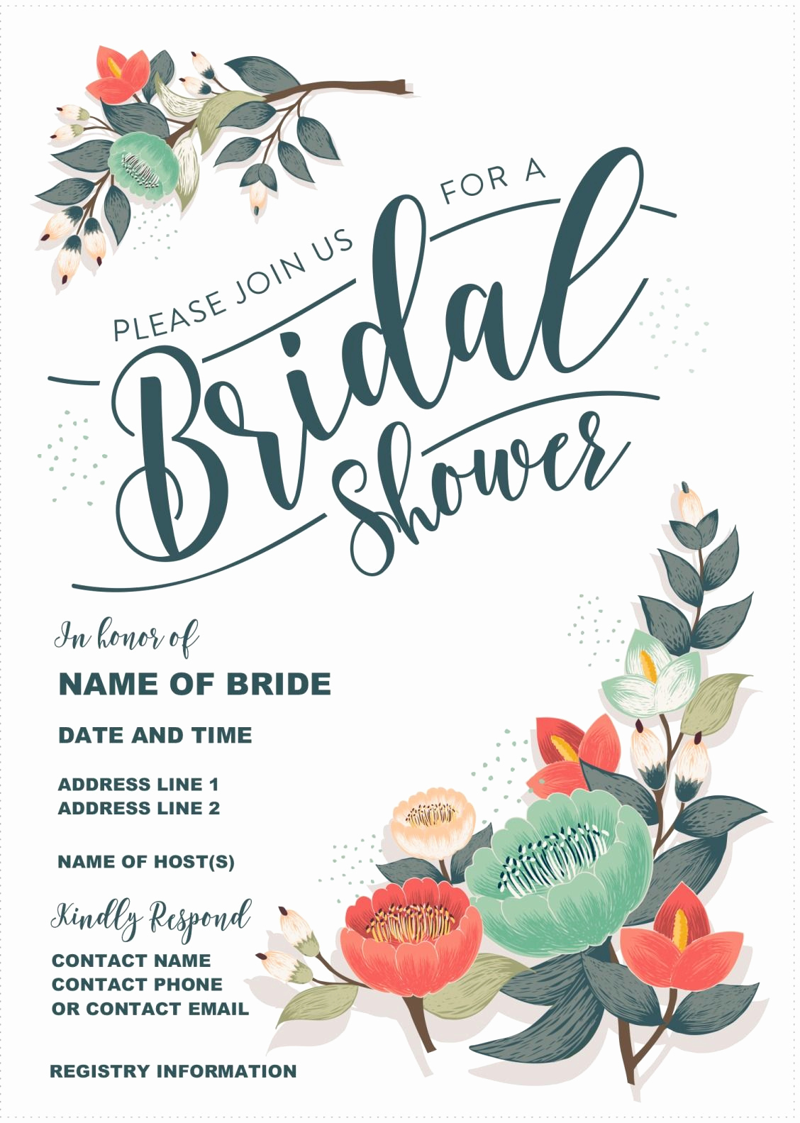 Free Bridal Shower Invitation Printables Unique Our Gorgeous Printable Bridal Shower Invitation is totally