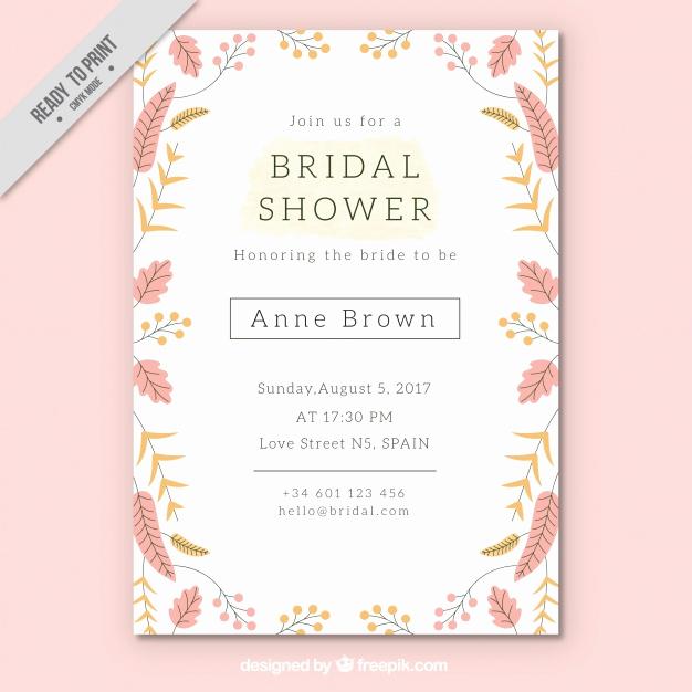 Free Bridal Shower Invitation Templates Beautiful Pretty Bridal Shower Invitation Template with Colored