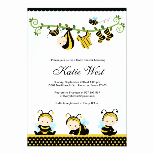 Free Bumble Bee Invitation Template Beautiful Bumble Bee Baby Shower Invitation
