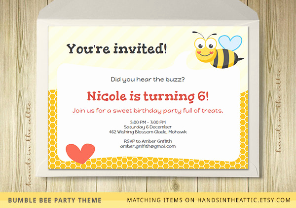 Free Bumble Bee Invitation Template Beautiful Bumble Bee Party Invitation Template Editable by