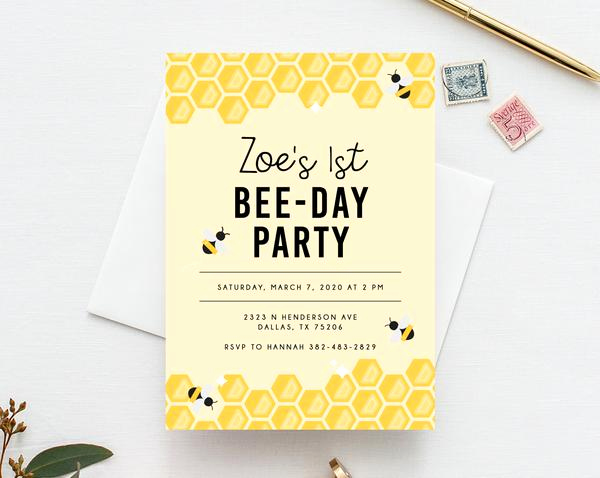 Free Bumble Bee Invitation Template Elegant Bee Day Invite Template Bumble Bee Birthday Invitation