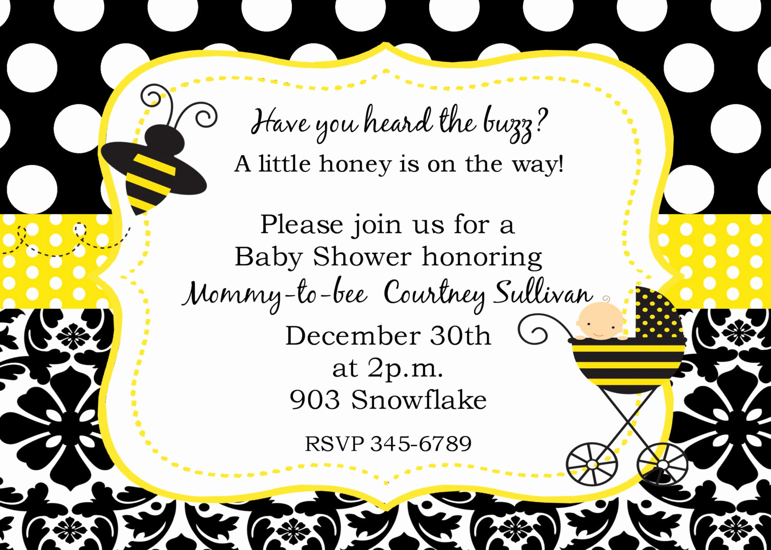 Free Bumble Bee Invitation Template Elegant Bumble Bee Baby Shower Invitations Digital or Printable File
