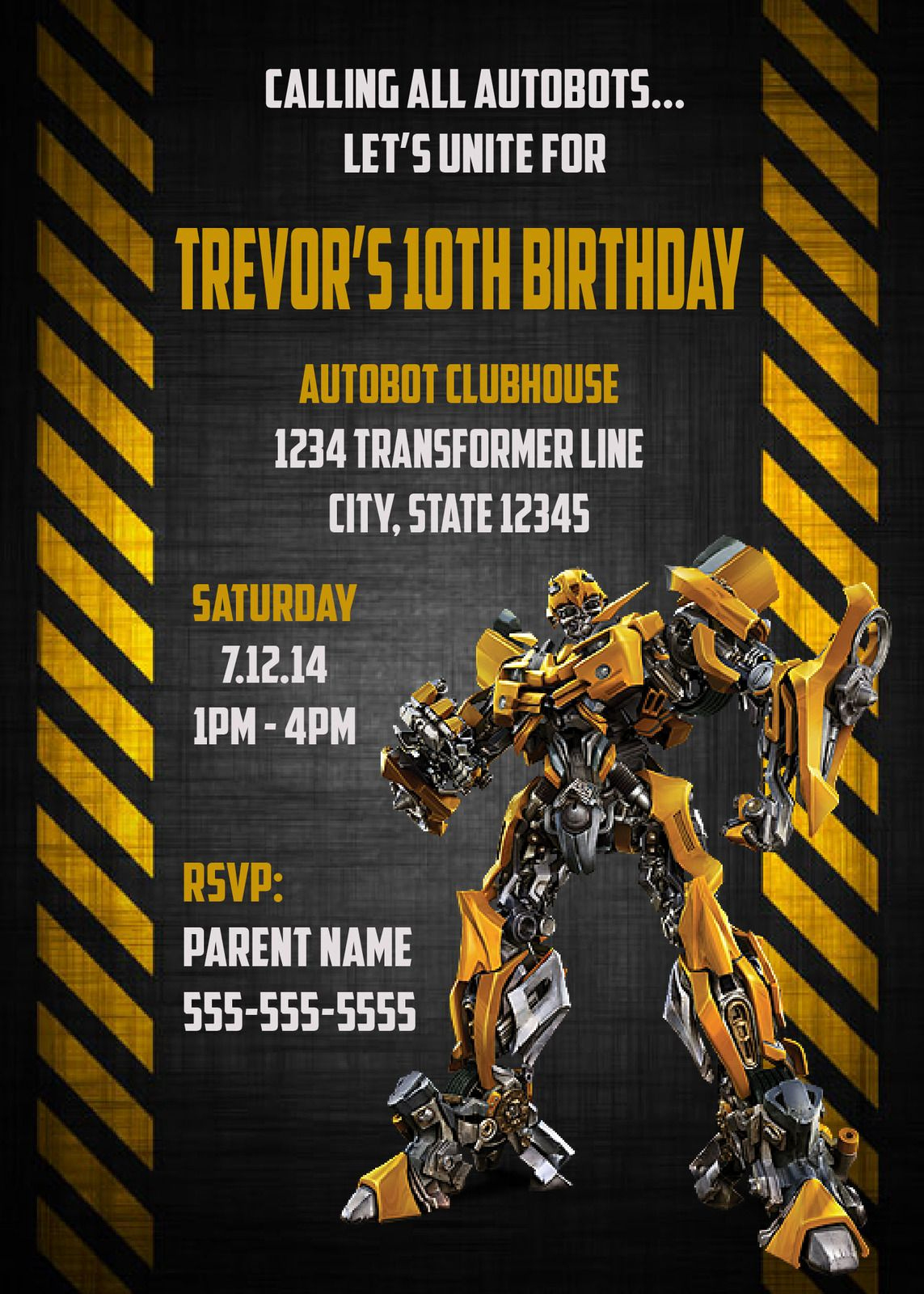 Free Bumble Bee Invitation Template Luxury $10 Transformers Bumble Bee Birthday Invitation