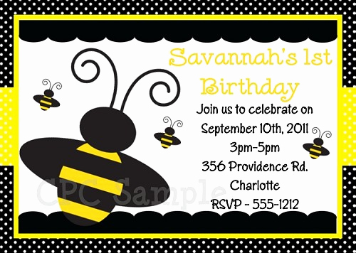 Free Bumble Bee Invitation Template Luxury Bumble Bee Birthday Invitations
