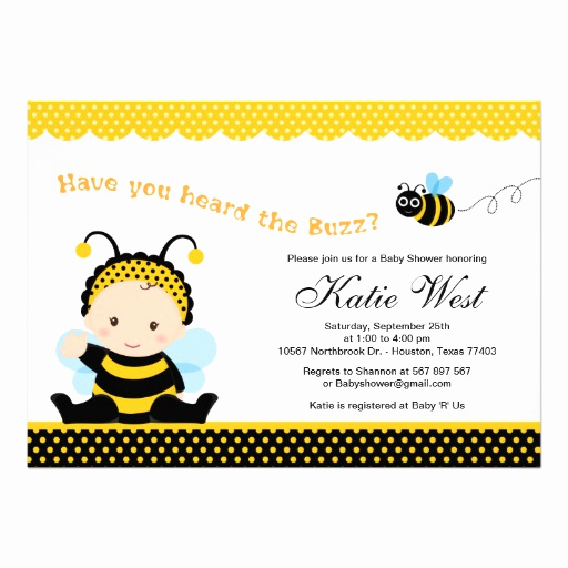 "Free Bumble Bee Invitation Template New Bumble Bee Baby Shower Invitation 5"" X 7"" Invitation Card"