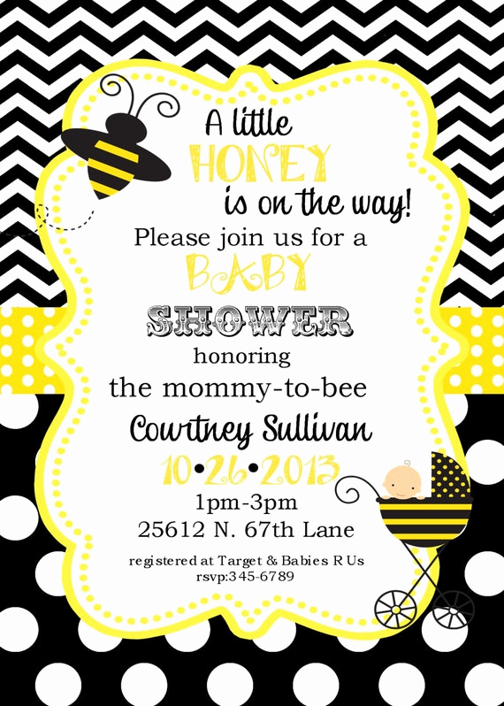 Free Bumble Bee Invitation Template New Bumble Bee Baby Shower Invitations Digital or Printable File
